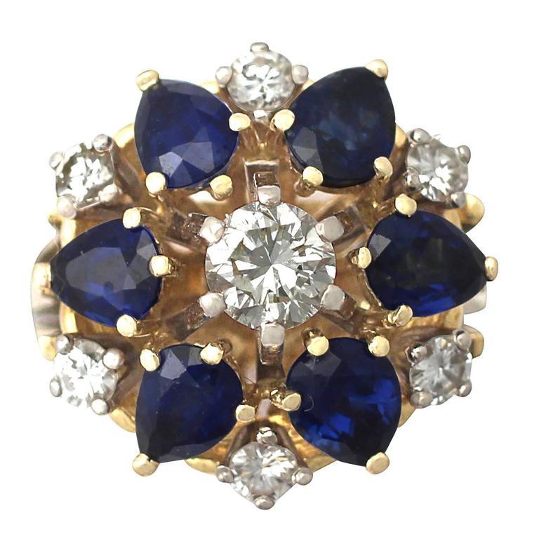 1970s 4.45 Carat Sapphire and 1.15 Carat Diamond Yellow Gold Cocktail Ring