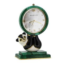Van Cleef & Arpels Emerald Diamond Malachite Hardstone Panda Quartz Desk Clock