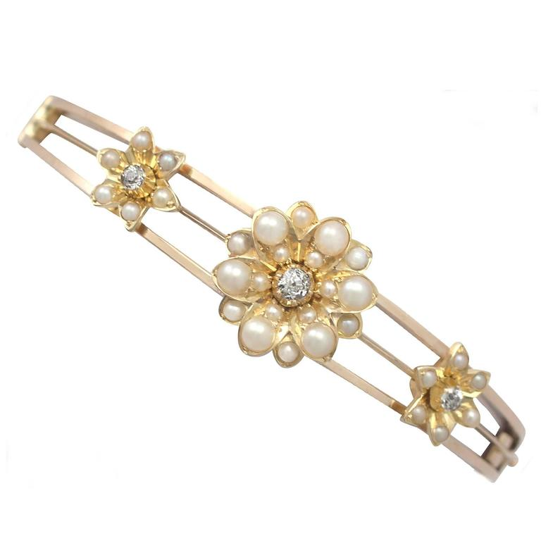 0.29Ct Diamond & Pearl, 15k Yellow Gold Bangle - Antique Victorian Circa 1890