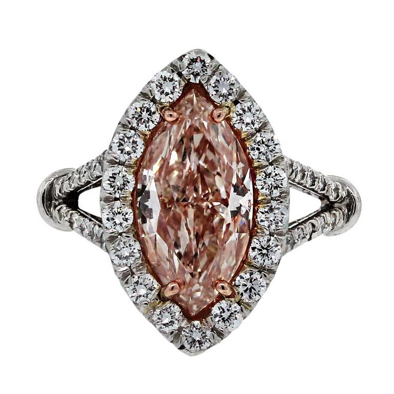 3 Carat GIA Certified Natural Fancy Light Pink Marquise Diamond Platinum Ring  1