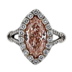 3 Carat GIA Certified Natural Fancy Light Pink Marquise Diamond Platinum Ring