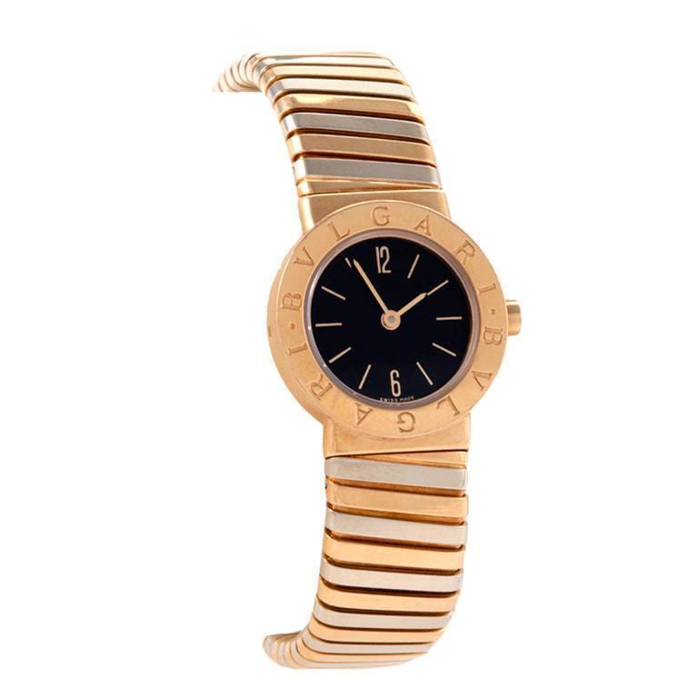 Bulgari 1980s Yellow and White Gold Tubogas Quartz Wristwatch