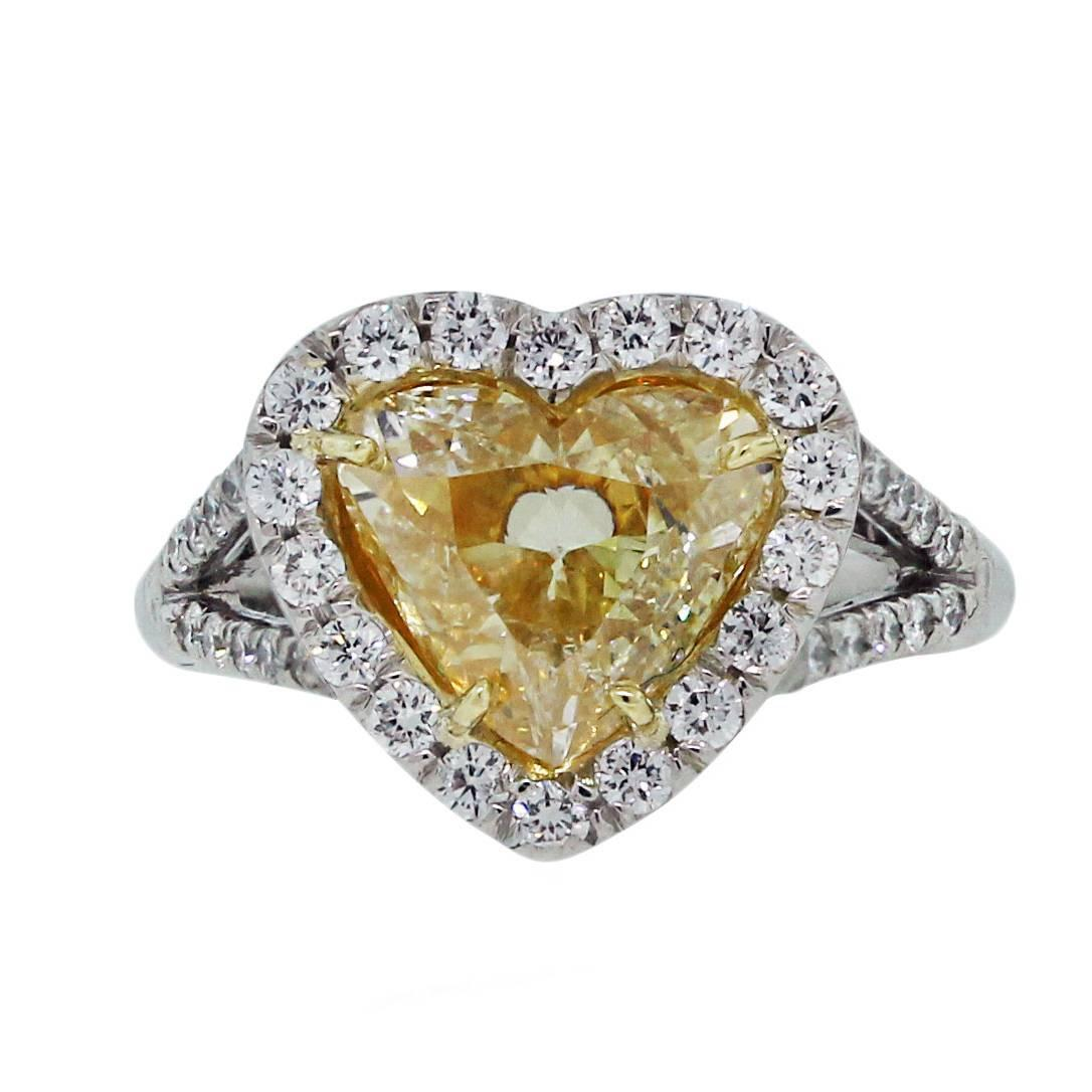 2 01 Carat Fancy Yellow Heart Shaped Diamond Platinum Engagement Ring For Sal
