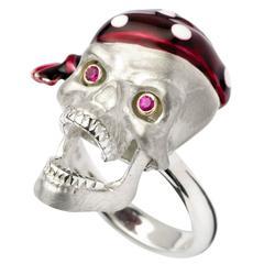 Deakin & Francis Silver Pirate Skull Ring