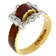 Antique Red Enamel Diamonds Yellow Gold Buckle Ring