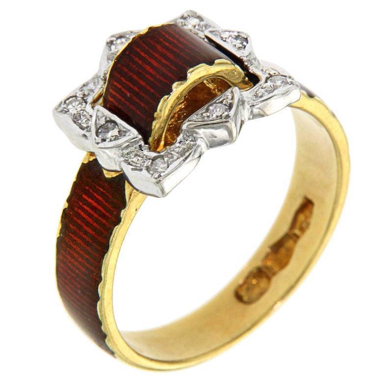Antique Red Enamel Diamonds Yellow Gold Buckle Ring For Sale