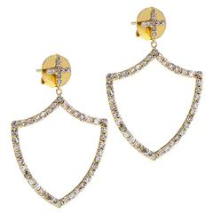 Insignia Renaissance Shield Gold and Diamond Earrings