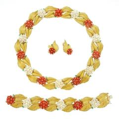Coral Pearl and Diamond Necklace Bracelet and Earring Set in Gold