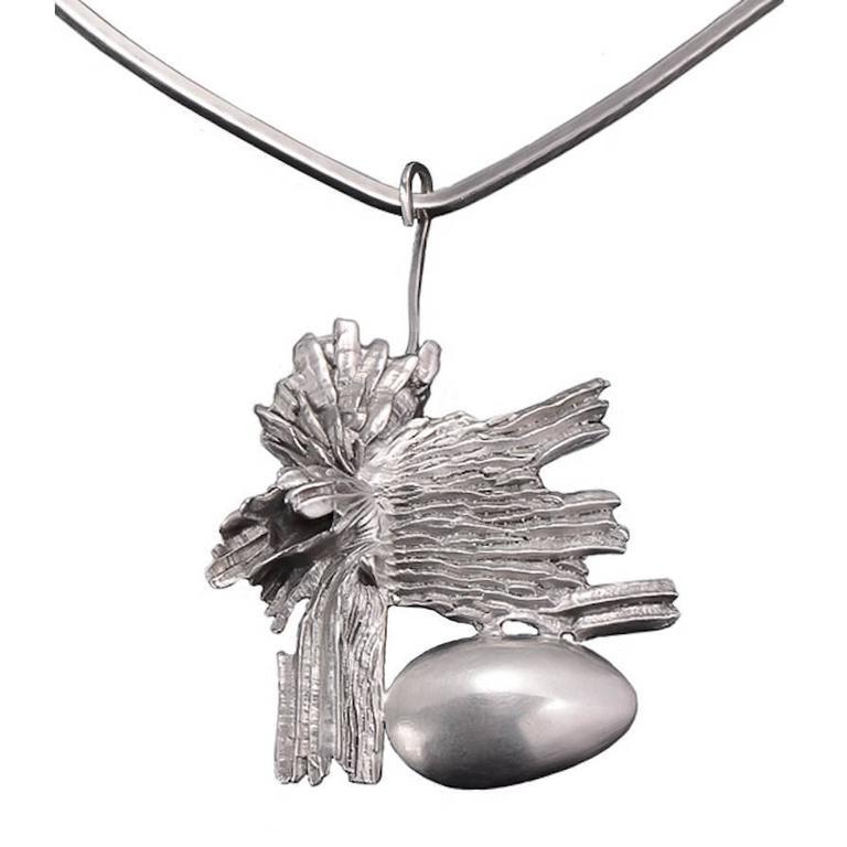 Matti J. Hyvärinen Sterling Silver Pendant with Hans Hansen Neck Ring