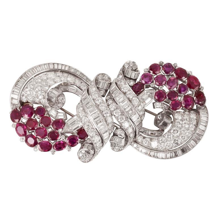 Diamond Ruby Double Clips Brooch