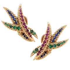 1980s Mauboussin Ruby, Sapphire and Emerald Ear Clips