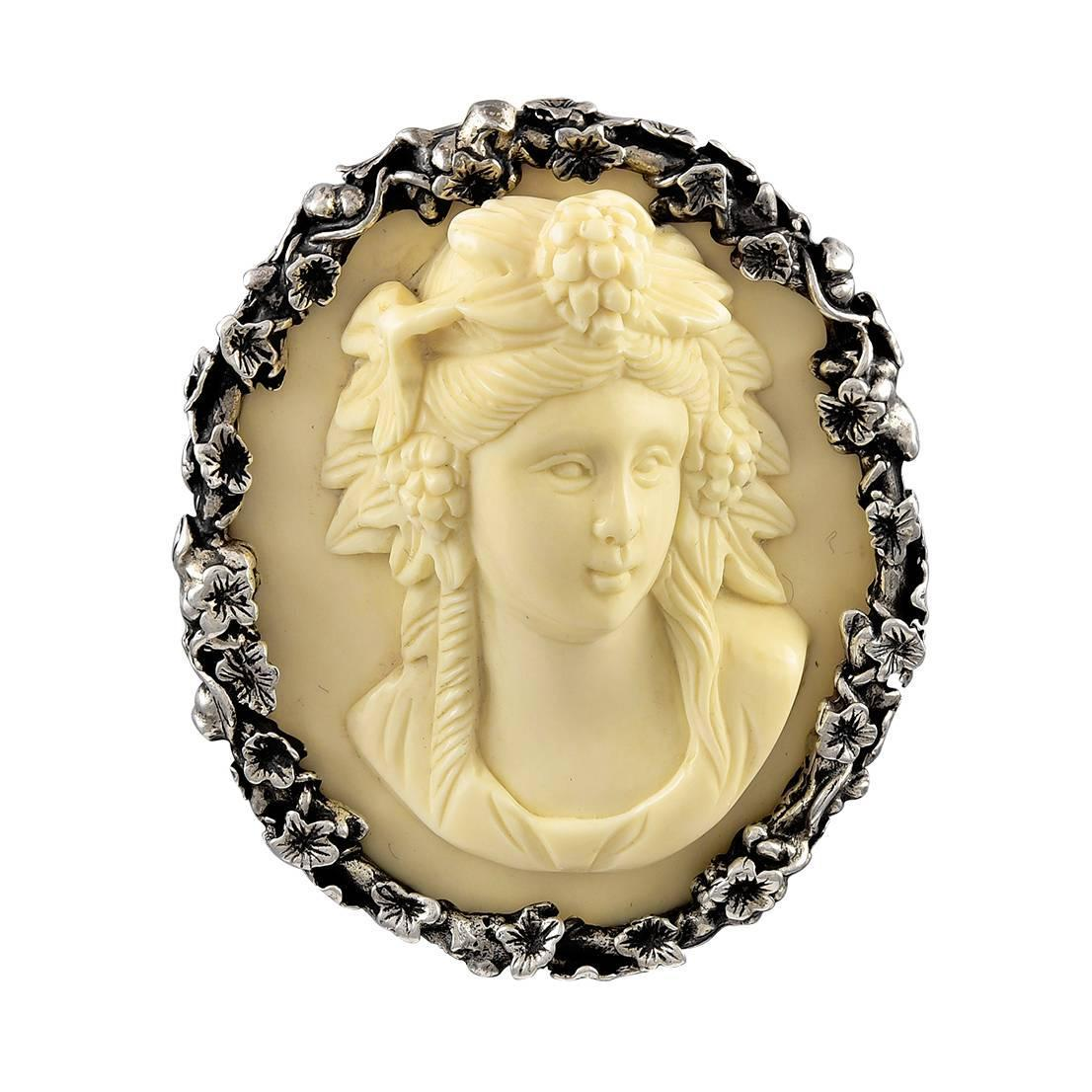 Stephen Dweck Bone Sterling Silver Cameo At 1stdibs