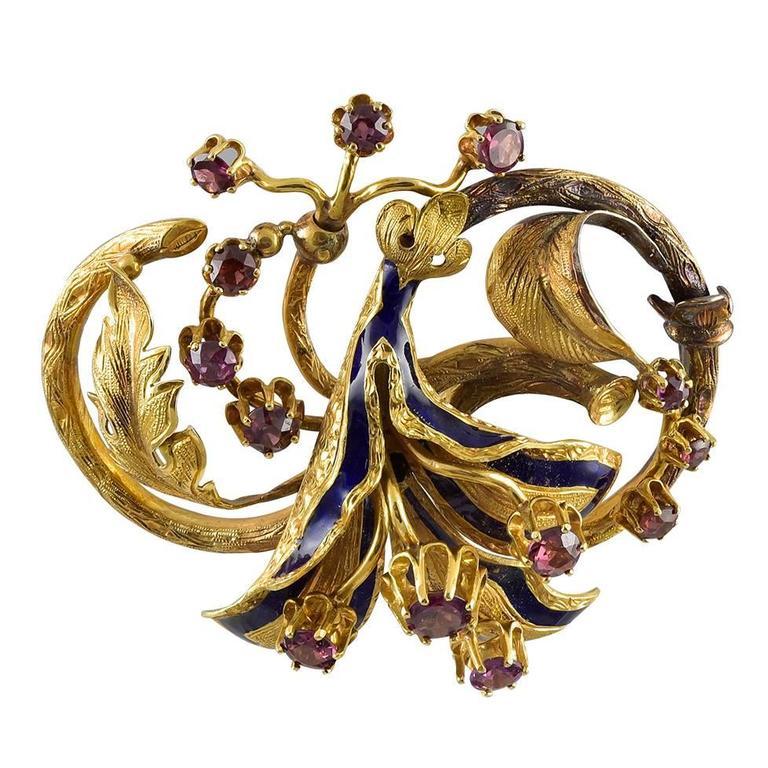 Victorian Enamel Rhodolite Garnet Gold Brooch     For Sale