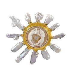 Stephen Dweck Cameo and Blister Pearl Gold Brooch