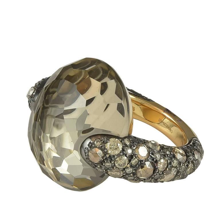 Pomellato Tango Collection Smokey Quartz Brown Diamond Gold Ring