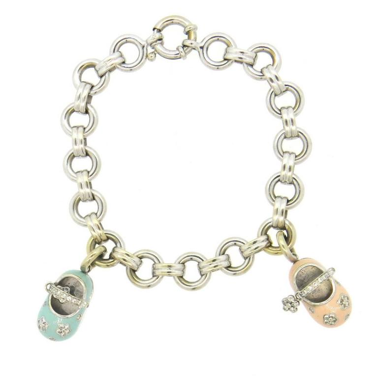Baby Charm Bracelets: Aaron Basha Diamond Gold Baby Shoe Charm Bracelet At 1stdibs