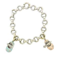 Aaron Basha Diamond Gold Baby Shoe Charm Bracelet
