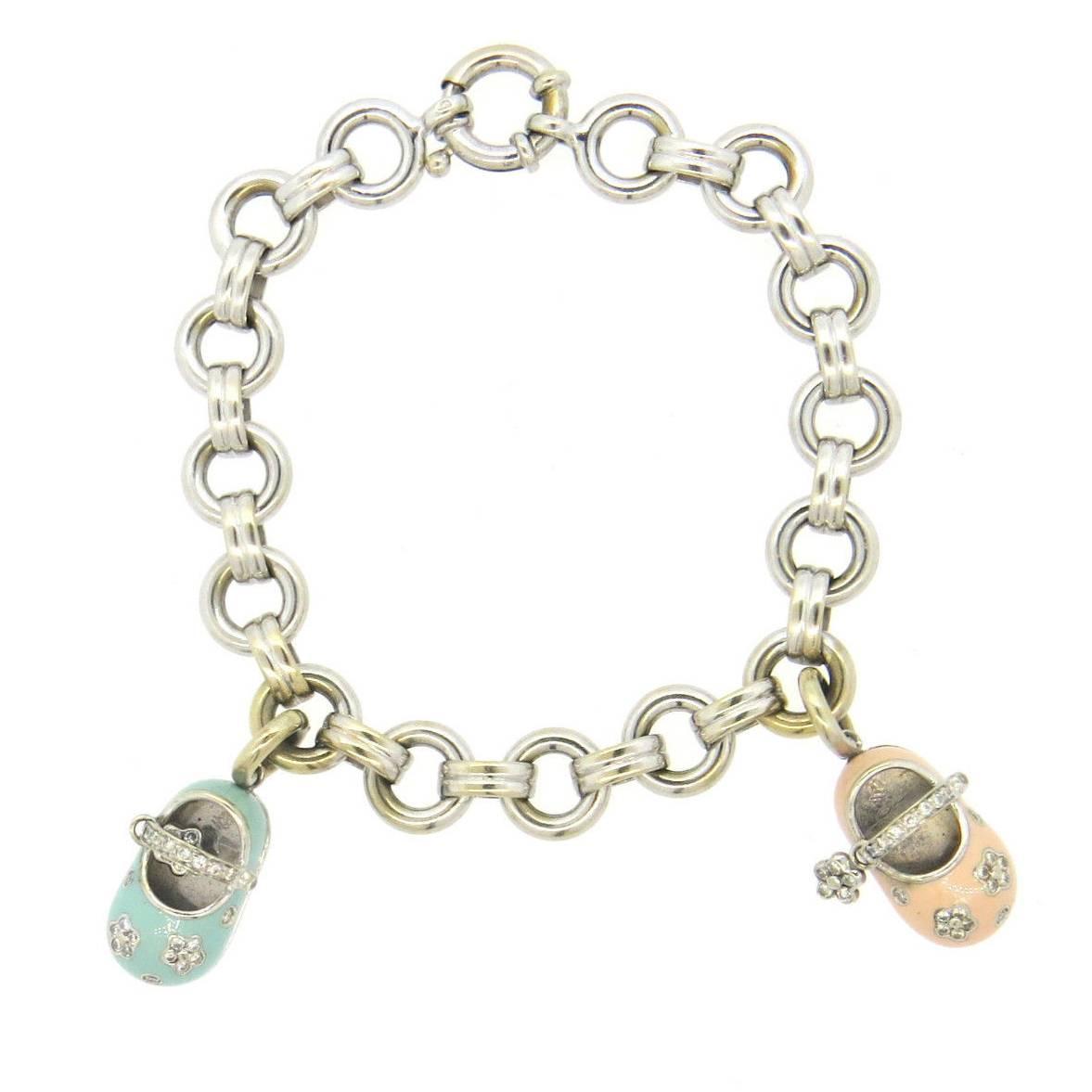 Aaron Basha Diamond Gold Baby Shoe Charm Bracelet For Sale