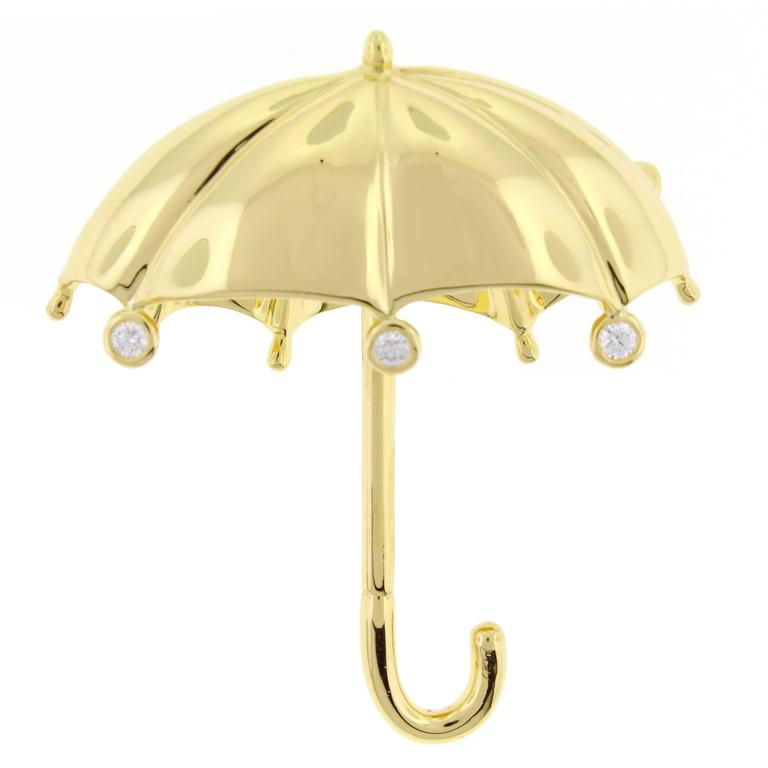 Tiffany & Co. Large Diamond Gold Umbrella Brooch  For Sale