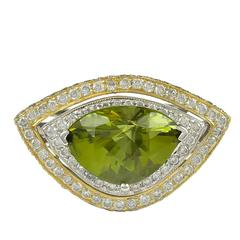 Peridot Diamond gold Double Halo Cocktail Ring