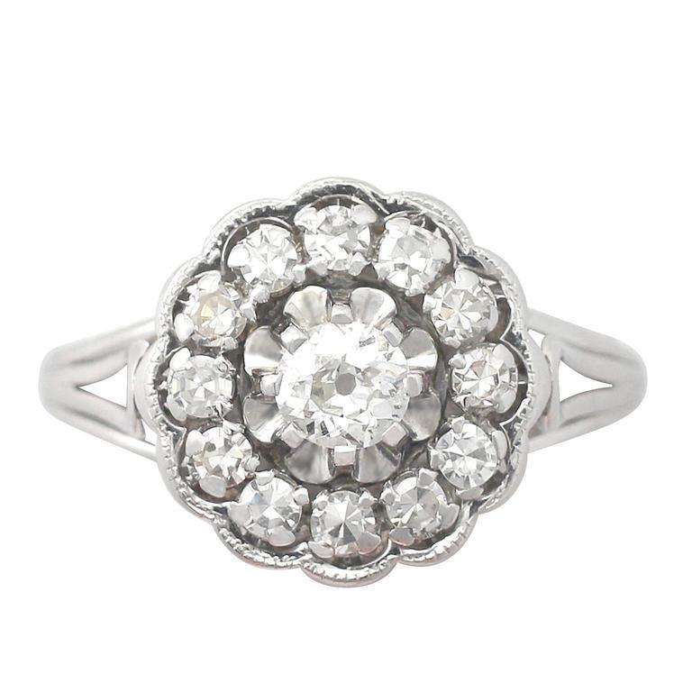 0.91 Carat Diamond and 18 Karat White Gold Cluster Ring, Antique circa 1920