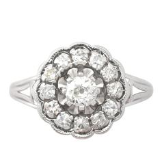 0.91 Carat Diamond and 18 Karat White Gold Cluster Ring, Antique circa 1920