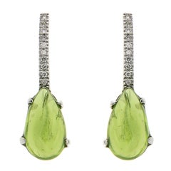 Green Peridot Diamonds White Gold Dangle Earrings Handcrafted in Italy