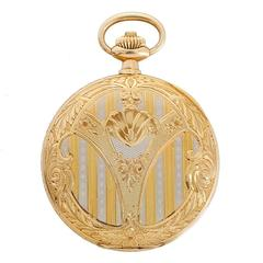 Omega Engraved Yellow Gold Pocket Watch in Original Box