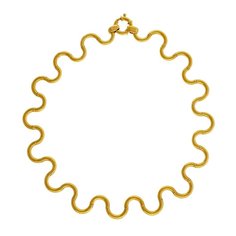 Unoaerre Italian Gold Brev Hinged Swirl Link Necklace