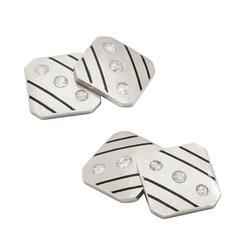 Art Deco Diamond, Enamel, and Platinum Cufflinks