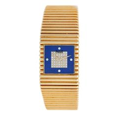 Piaget Emperador Yellow gold Diamond Dial Lapis Quartz Wristwatch