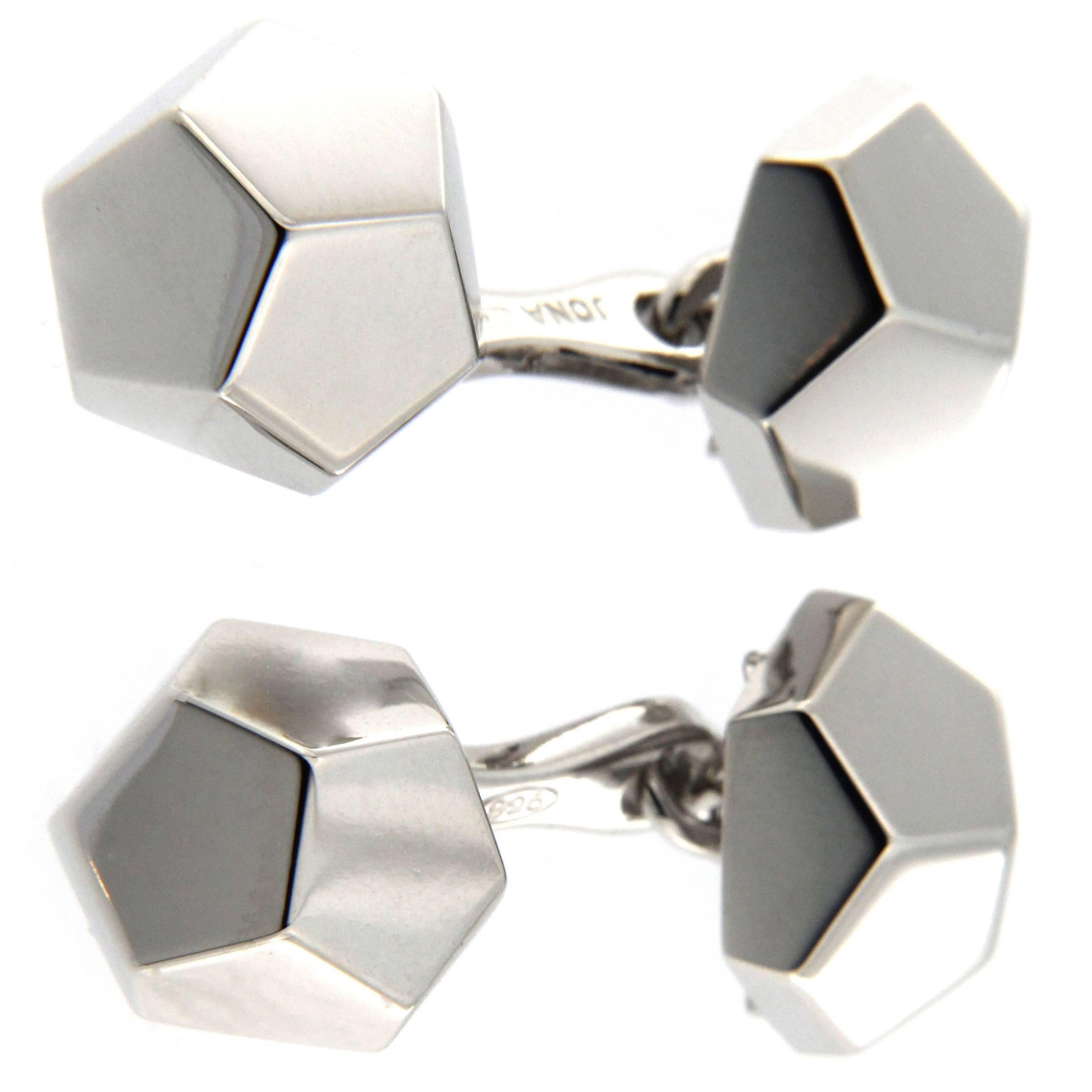 Jona Geometric Sterling Silver Cufflinks