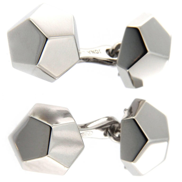 Jona Geometric Sterling Silver Cufflinks For Sale
