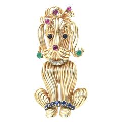 Adorable Emerald Sapphire Ruby Diamond Gold Poodle Dog Brooch