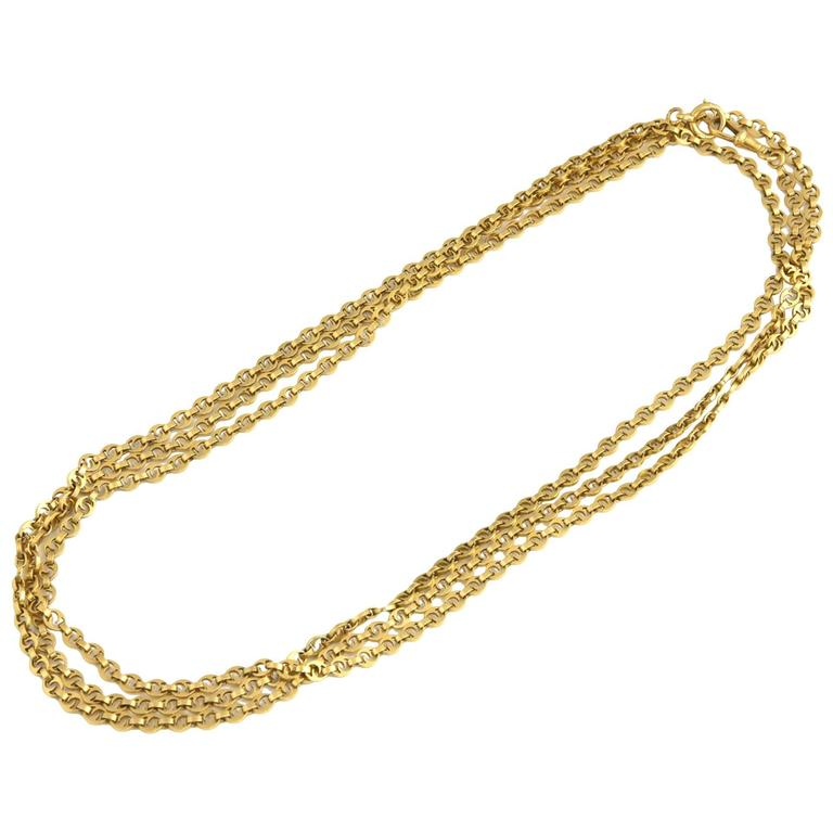 Exquisite Very Long Victorian 62 Gold Watch Chain Necklace from