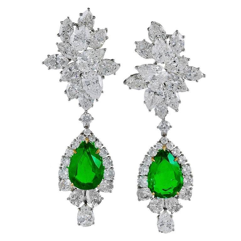 Harry Winston emerald Diamond Cluster Pendant Earrings