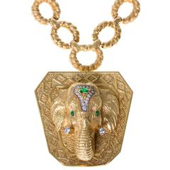 La Triomphe Emerald Diamond Gold Elephant Brooch Pendant