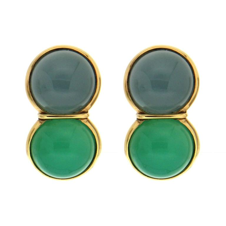 Valentin Magro Aquamarine Chrysophrase Cabochon Gold Earrings