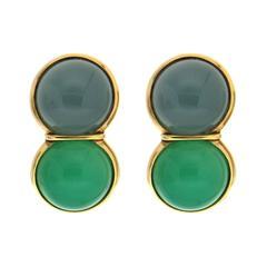 Aquamarine Chrysophrase Cabochon Gold Earrings