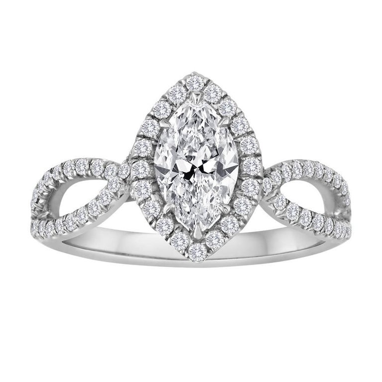 GIA Certified 0.74 Carat Marquise Diamond Gold Engagement Ring For Sale