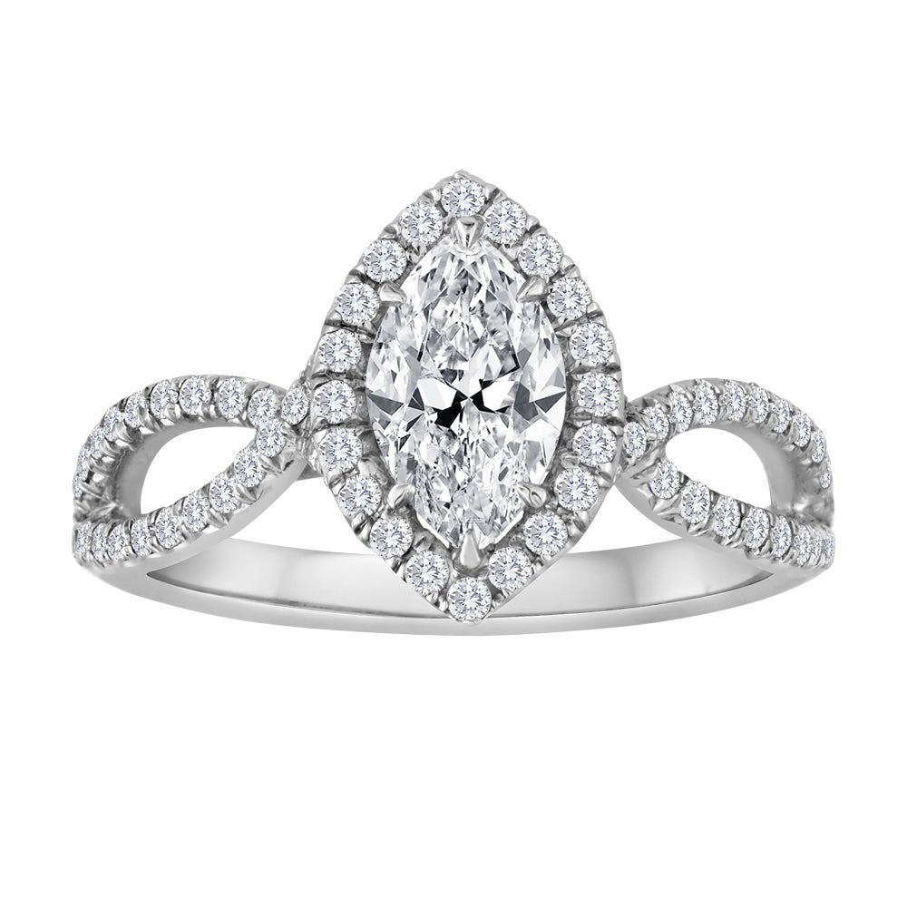 GIA Certified 0.74 Carat Marquise Diamond Gold Engagement Ring