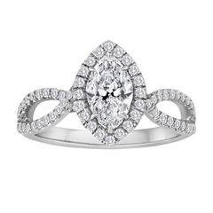 GIA Certified 0.74 Carat D SI2 Marquise Diamond Engagement Ring