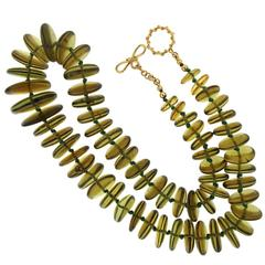 Green Amber Disk Necklace