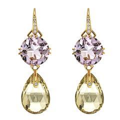 Yellow Quartz Light Purple Emerald Diamond Gold Earrings