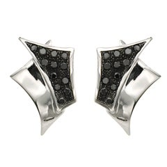 Black Diamond White Gold Earrings Handcrafted in Italy by Botta Gioielli