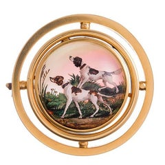 Victorian Hunting Dogs Reverse Painted Crystal Gold Brooch
