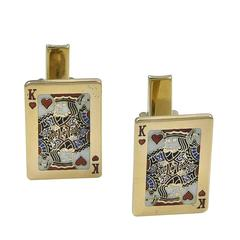 Great Enamel Gold King of Hearts Cufflinks