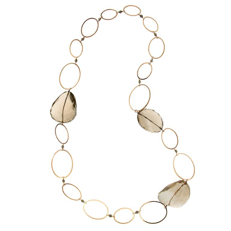 Brown Citrine Rose Gold Necklace Modern