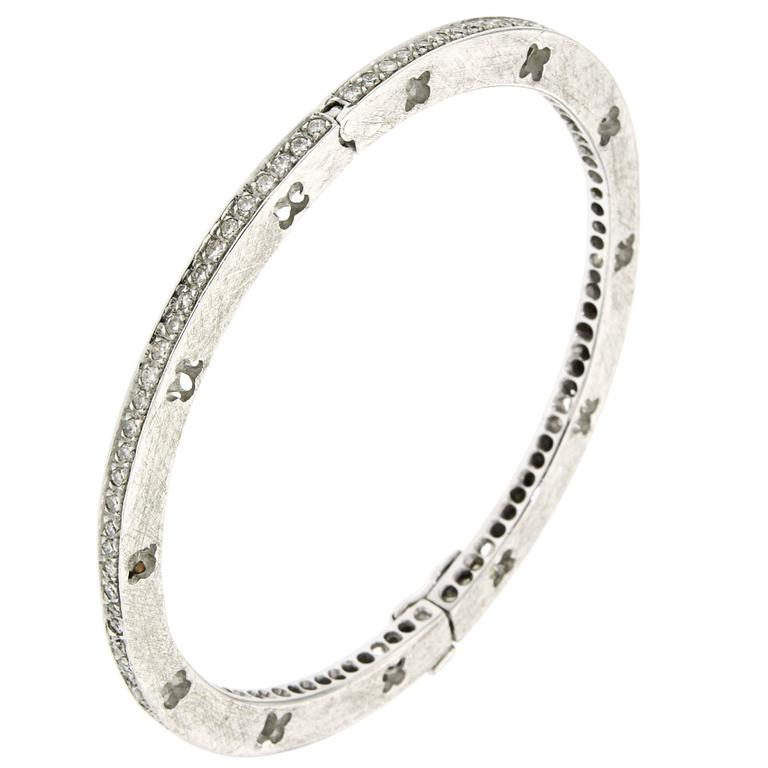 Diamond White Gold Handcuffs Bracelet Modern For