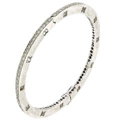Diamond White Gold Handcuffs Bracelet Modern